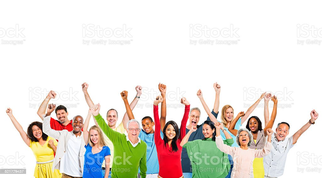 Multiethnic Group of People Expressing Positivity stock photo