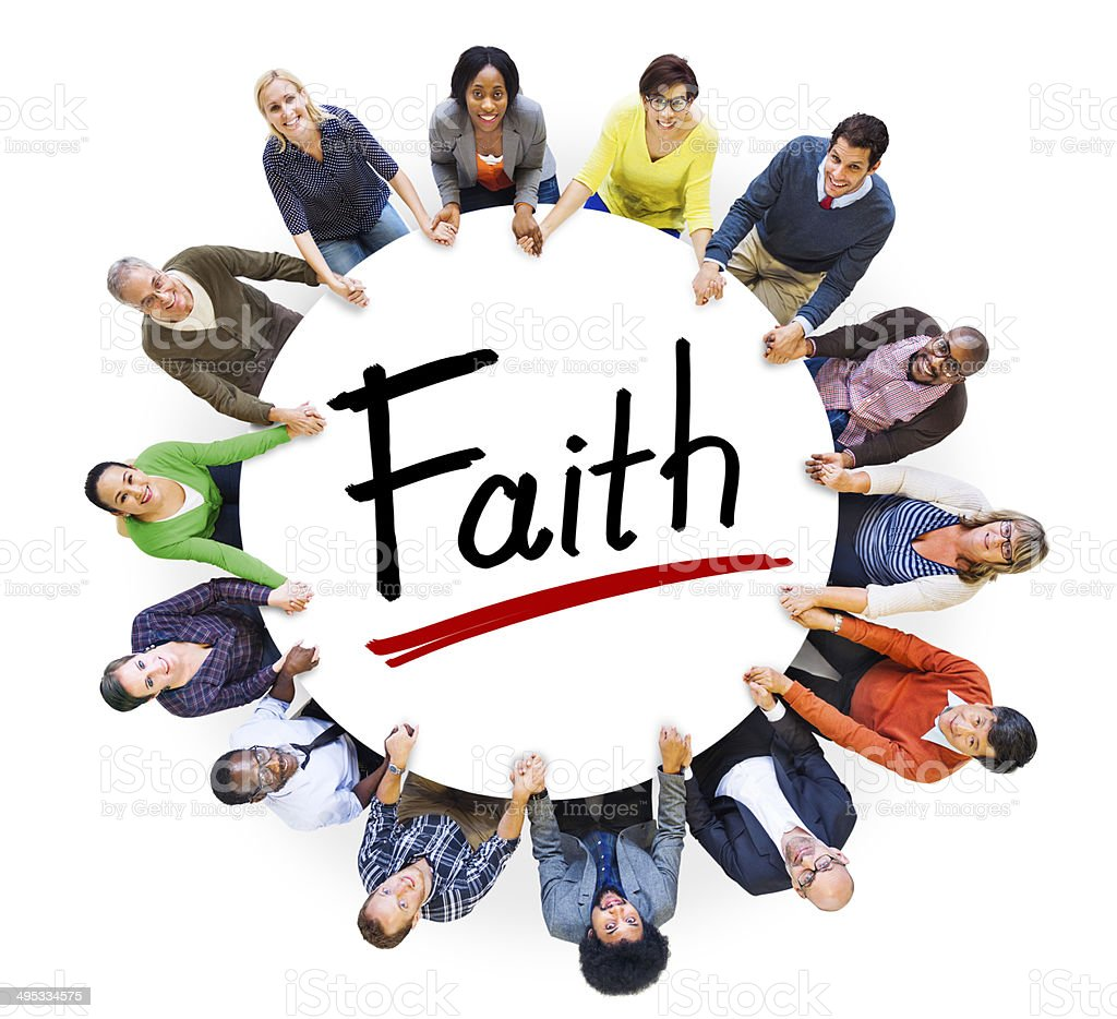 Multiethnic Group of People Holding Hands and Faith Concept stock photo