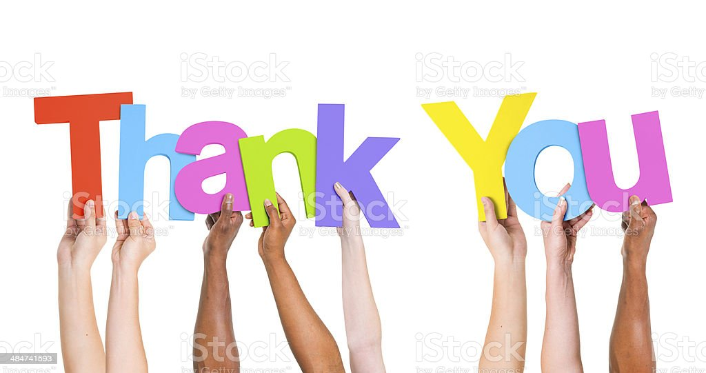 Multi-Ethnic Group Of People Holding The Word Thank You stock photo
