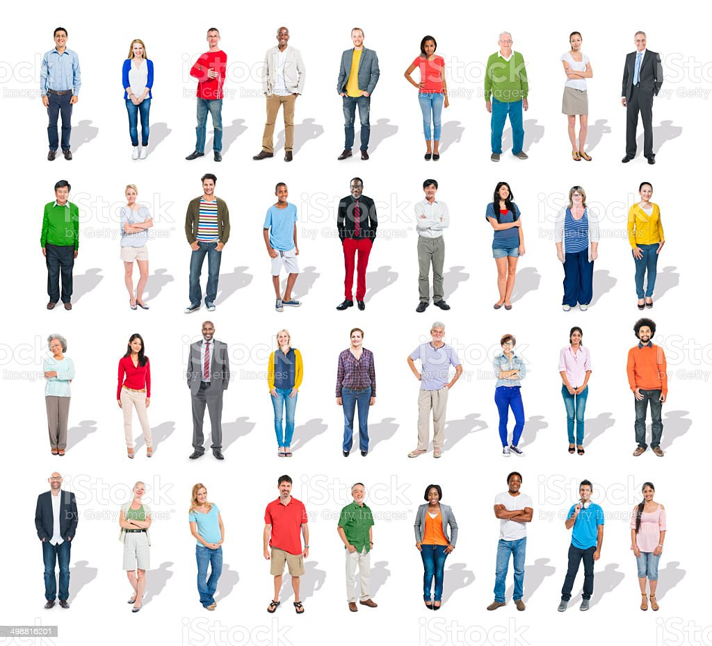 Multiethnic Group of People in a Row stock photo