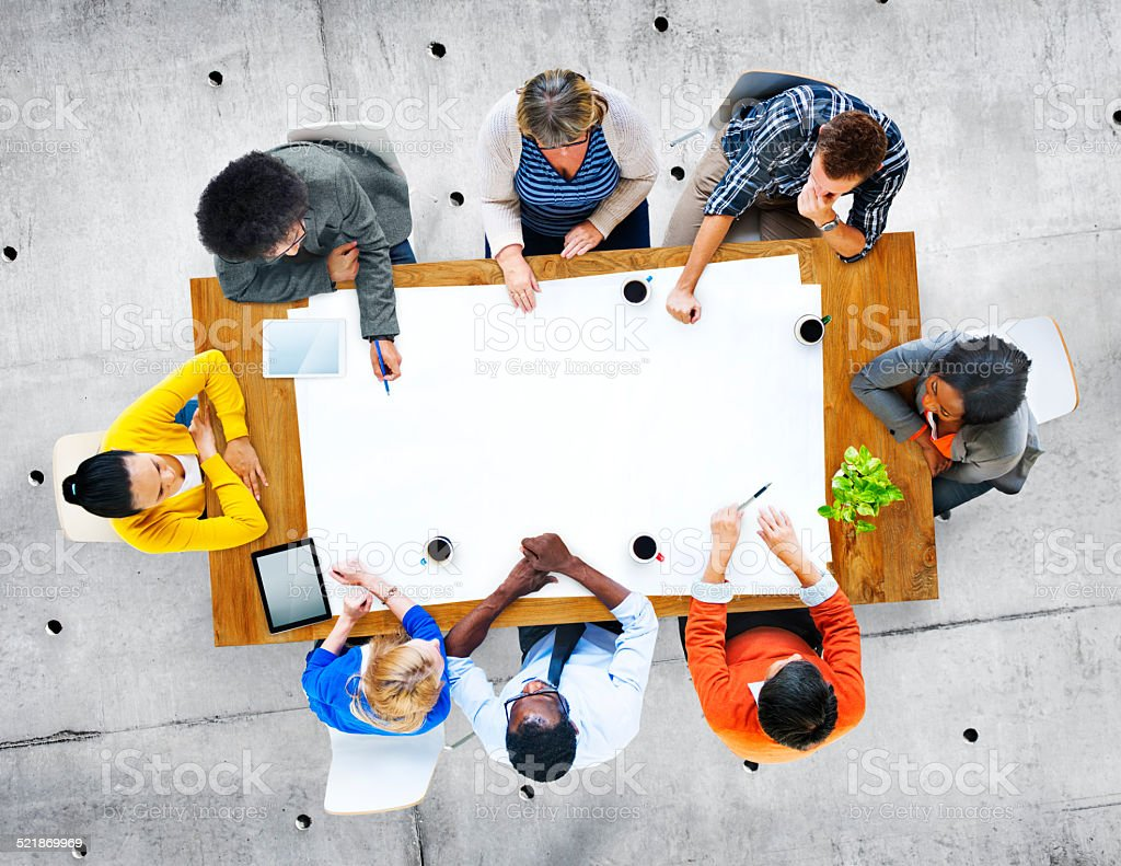 Multiethnic Group of People in Discussion stock photo