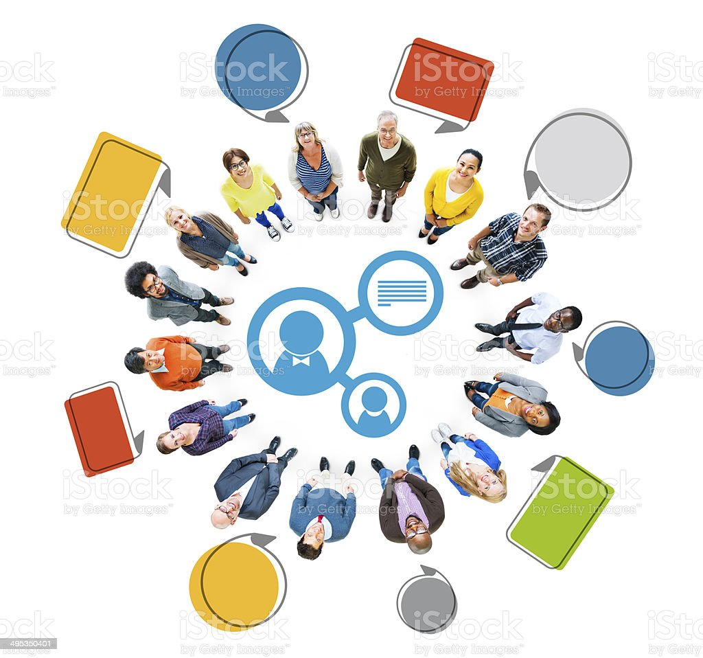 Multiethnic Group of People with Connection Concept stock photo