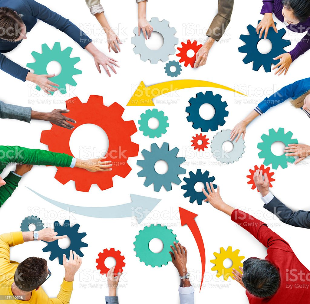 Multiethnic Group of People with Gear Symbol stock photo