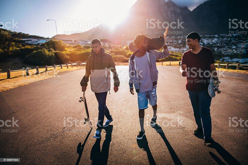 Multi-Ethnic Group of Skaters Walking Down Street at Seaside stock photo