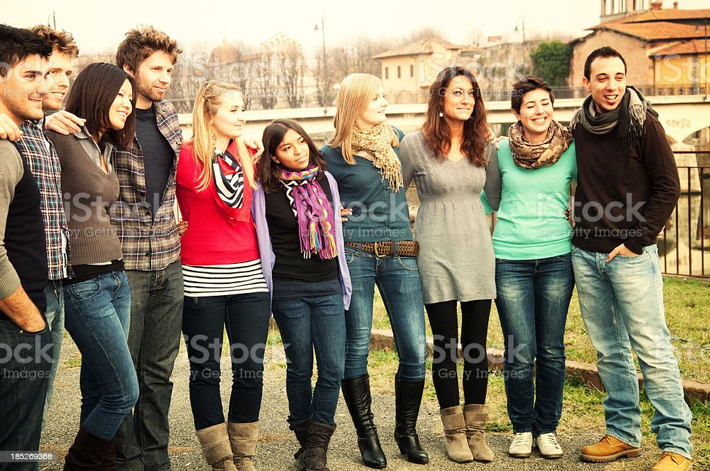 Multi-Ethnic Group of Students Outdoor royalty-free stock photo