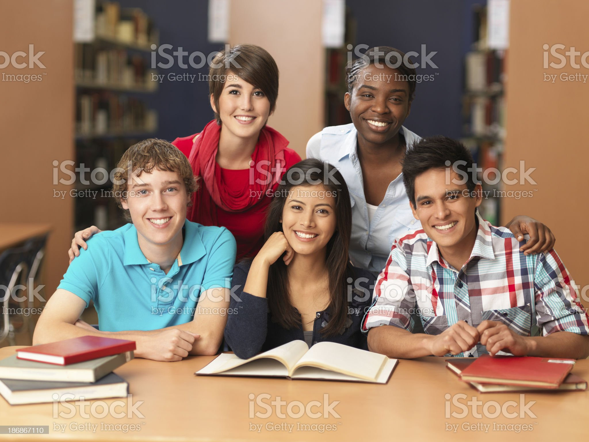 Multi-ethnic group of students royalty-free stock photo