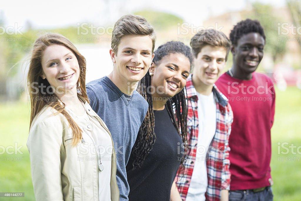 Multiethnic Group of Teenagers Outdoor stock photo