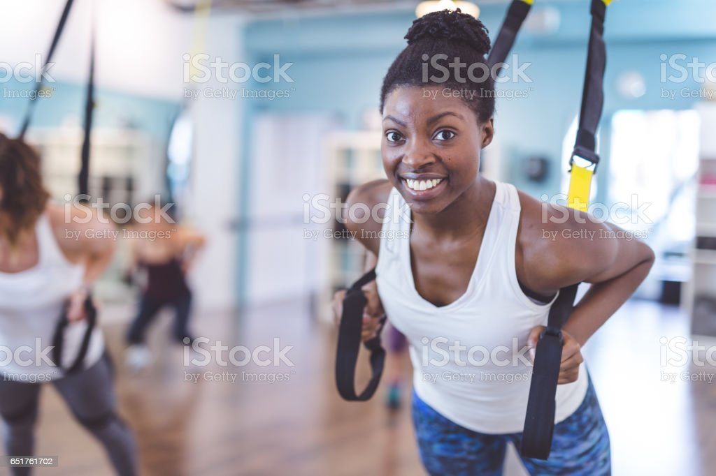 Multi-ethnic group of women doing workout stock photo