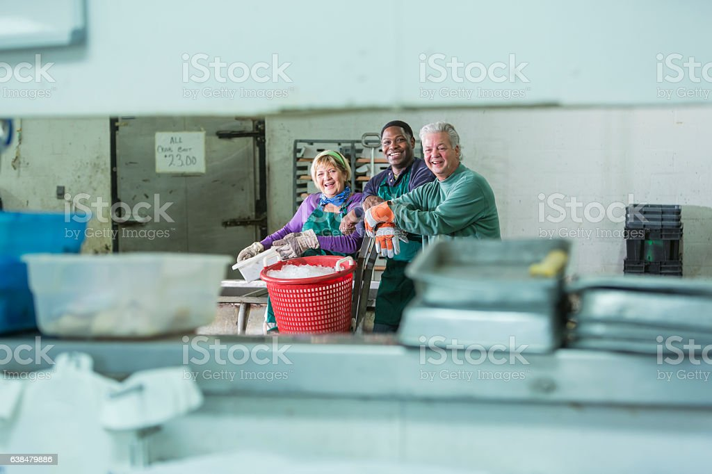 Multi-ethnic group of workers, seafood processiong plant stock photo
