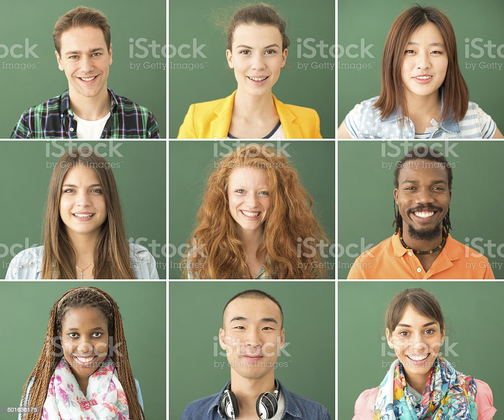 Multi-ethnic group of young people. stock photo