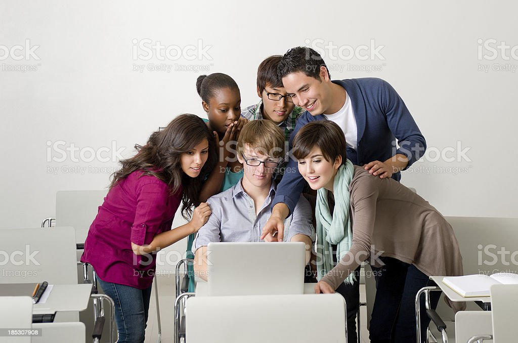 Multi-ethnic group of young students royalty-free stock photo