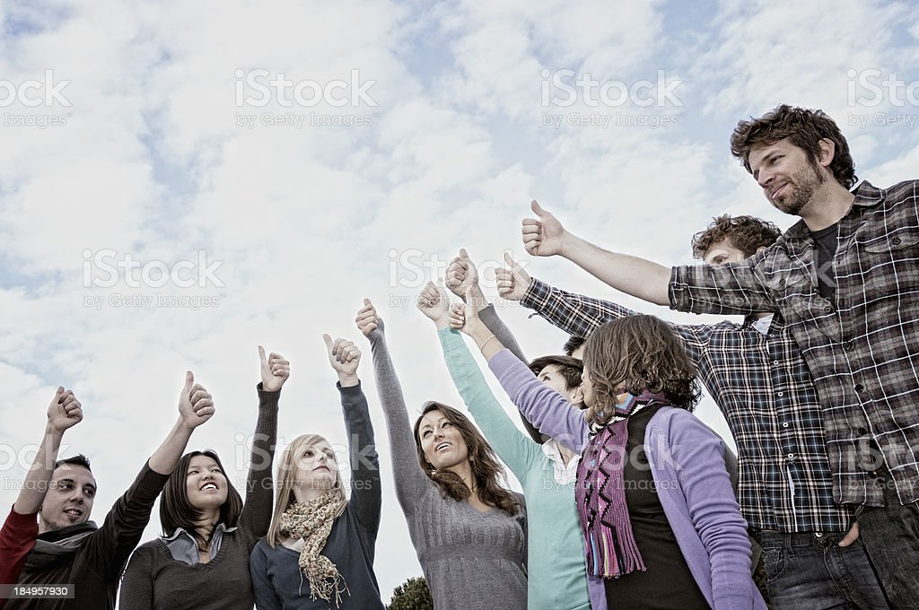 Multi-Ethnic Group Thumbs Up royalty-free stock photo