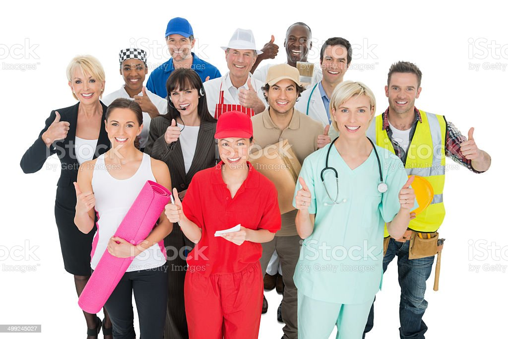 Multi-Ethnic Group With Various Occupations stock photo
