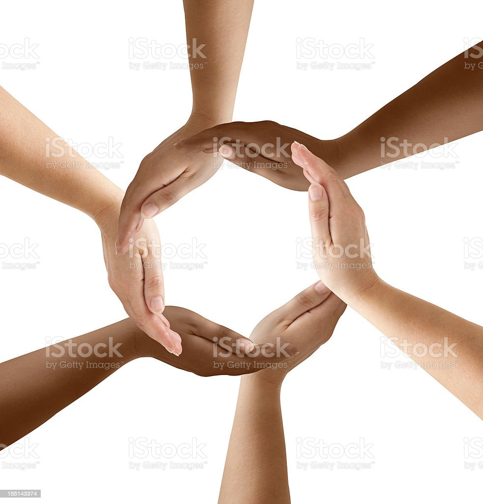 Multiethnic Hands Forming Circle stock photo