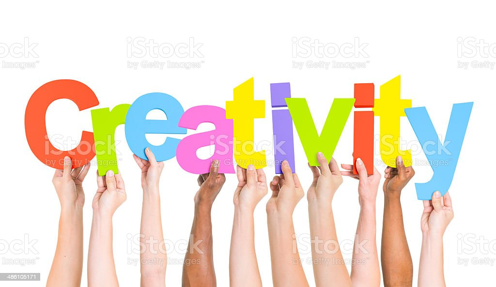 Multi-Ethnic Hands Holding Colorful Letters To Form Creativity royalty-free stock photo