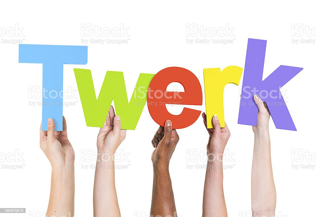 Multiethnic Hands Holding Text Twerk stock photo