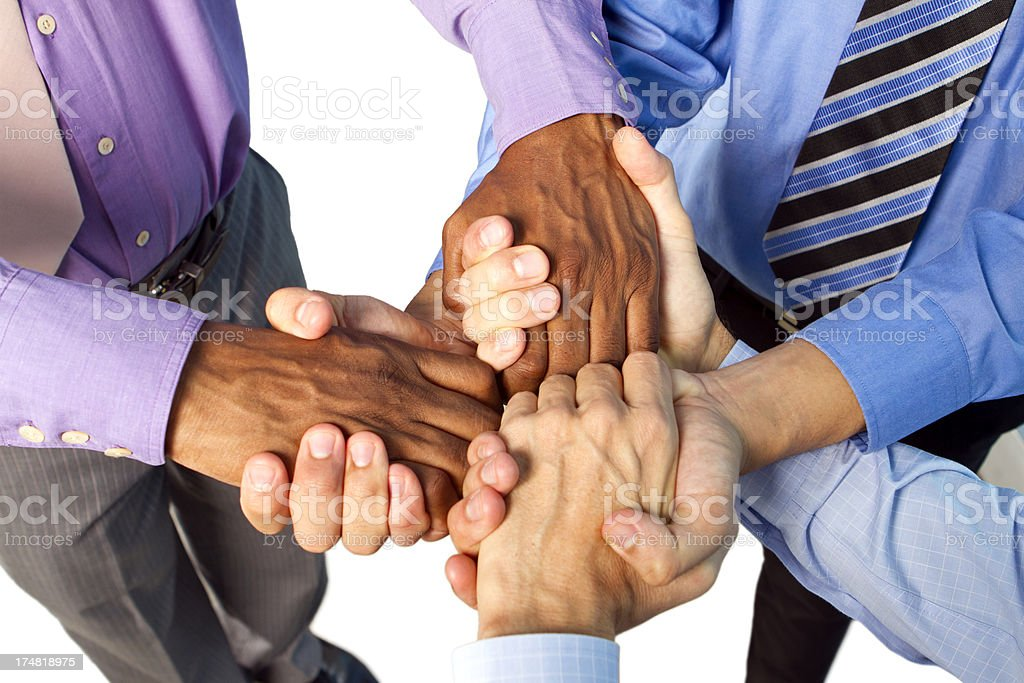 Multi-ethnic hands in royalty-free stock photo