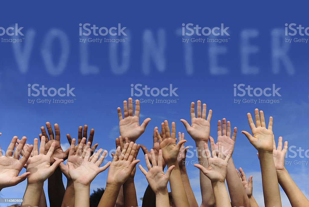 Multiethnic hands raised under word 'volunteer' stock photo