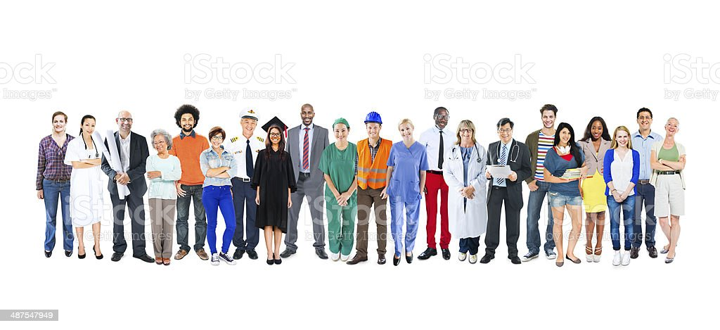 Multi-ethnic line of people with mixed occupations stock photo