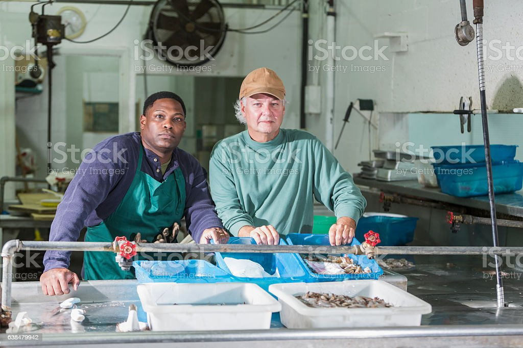 Multi-ethnic men working in food processing plant stock photo