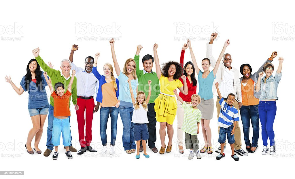 Multiethnic People Arms Raised stock photo
