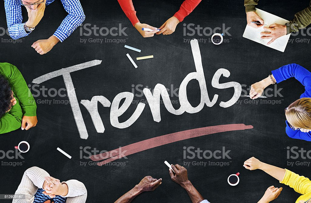 Multiethnic People Discussing about Trends stock photo