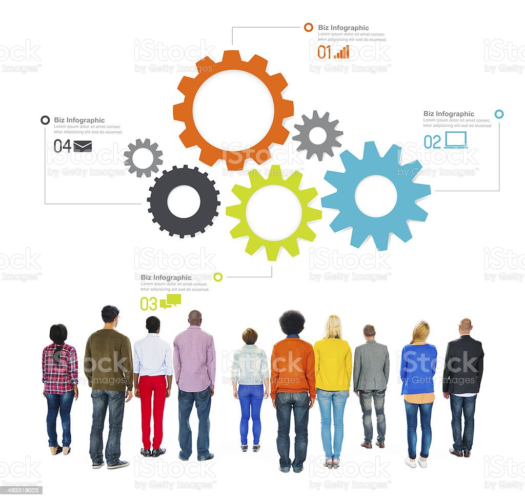 Multiethnic People Facing Backwards with Business Infographic stock photo