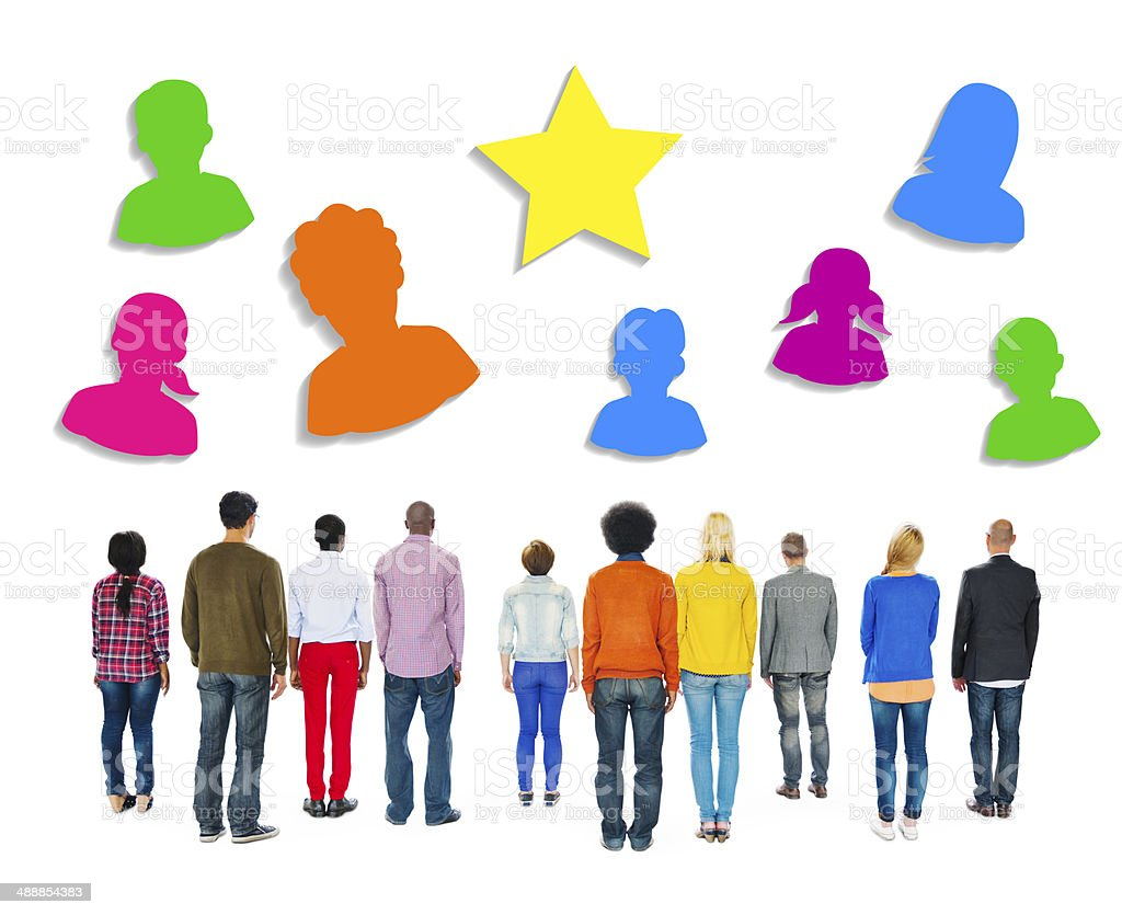 Multiethnic People Facing Backwards with Human Symbols royalty-free stock photo