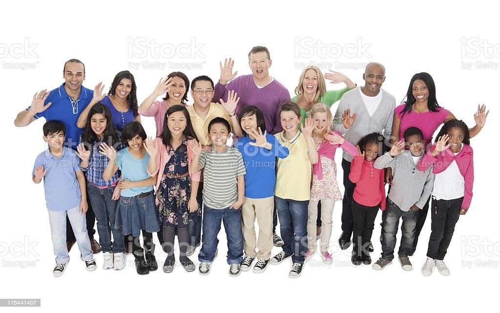 Multiethnic People In Casual Wear Waving Hands stock photo