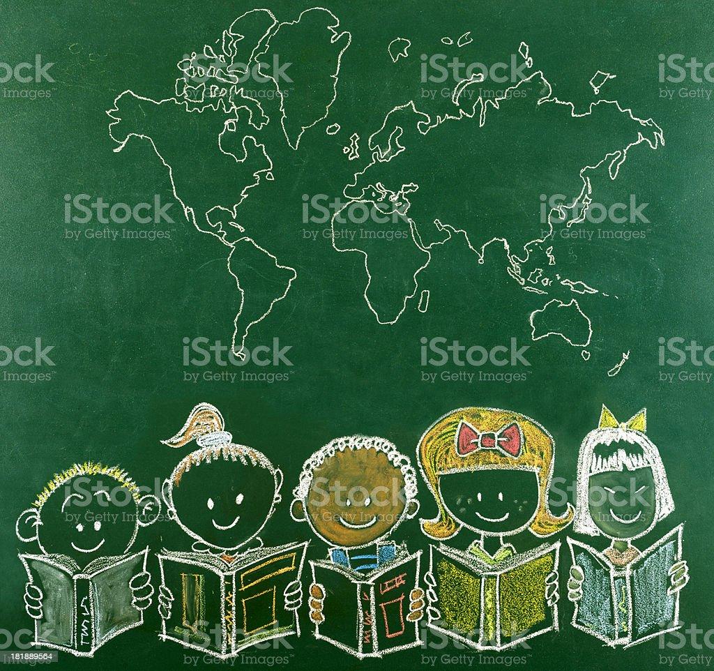 Multi-Ethnic School Children and World's Map royalty-free stock photo