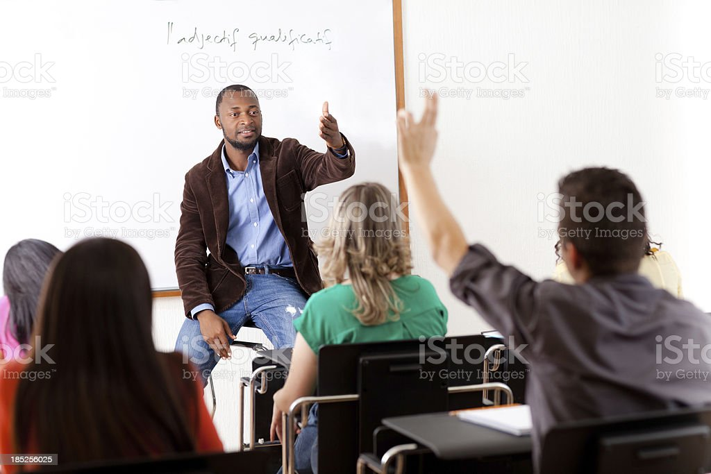 Multi-ethnic students in class royalty-free stock photo