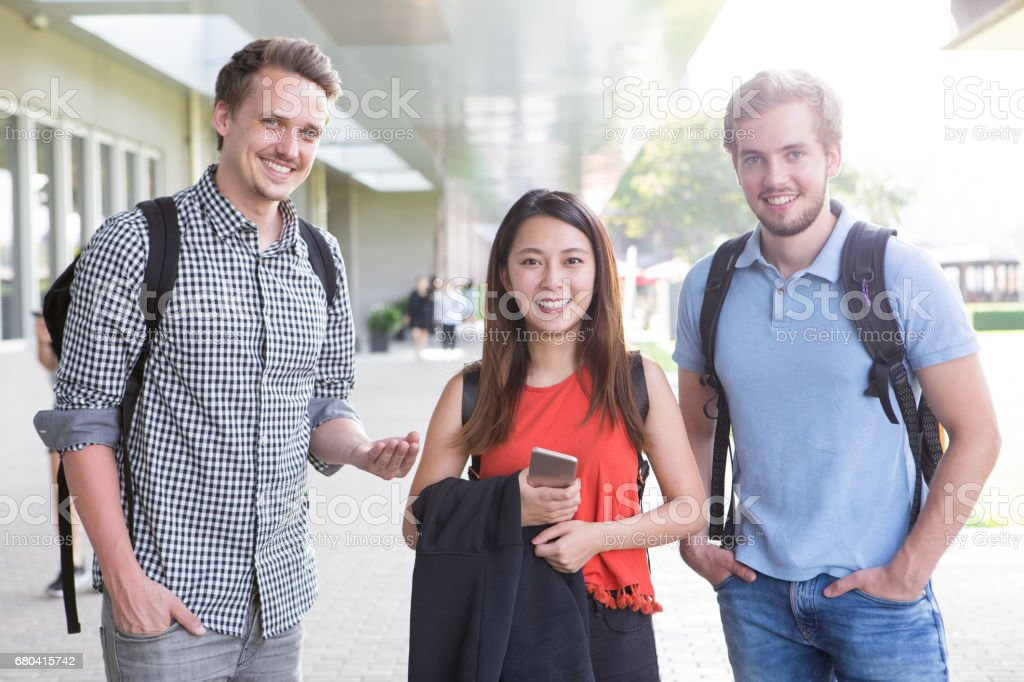 Multi-ethnic students studying in university stock photo