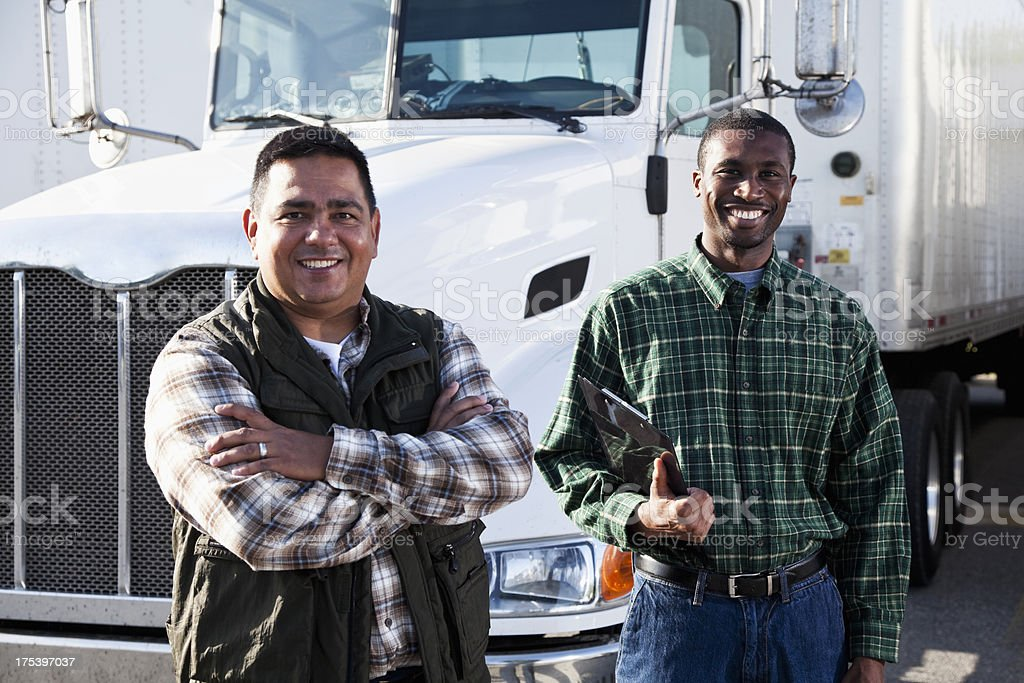 Multi-ethnic truck drivers royalty-free stock photo