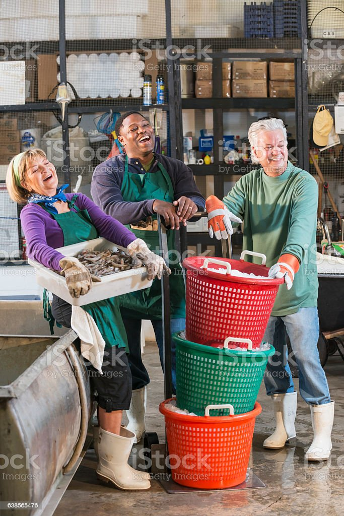 Multi-ethnic workers in seafood processing plant stock photo