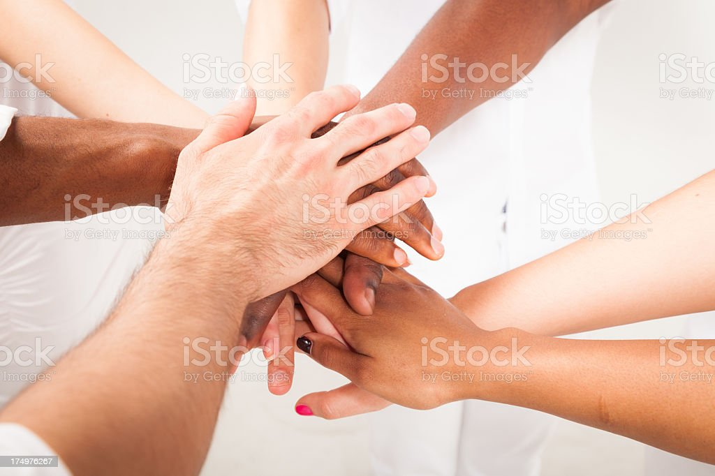 multi-ethnic young adults' hands royalty-free stock photo