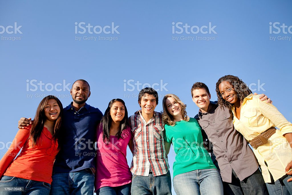 Multi-ethnic young friends royalty-free stock photo