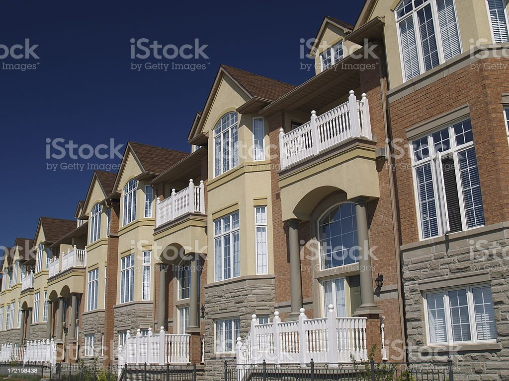 Multifaceted Contructed Townhomes stock photo