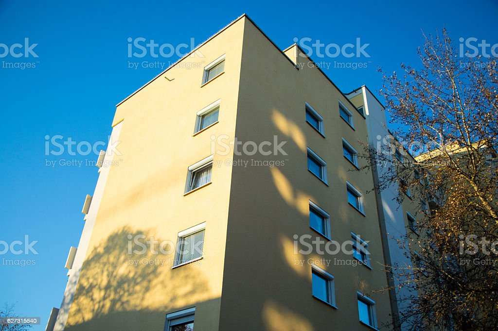 Multi-family house, modern and chic, in Munich, blue sky stock photo