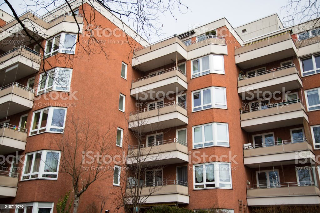Multi-family house, tenement house in Munich stock photo