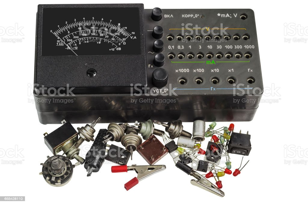 Multi-function analog meter and Radiodetali Semiconductor stock photo