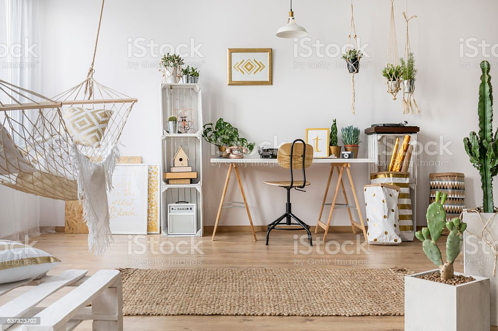 Multifunctional loft apartment stock photo