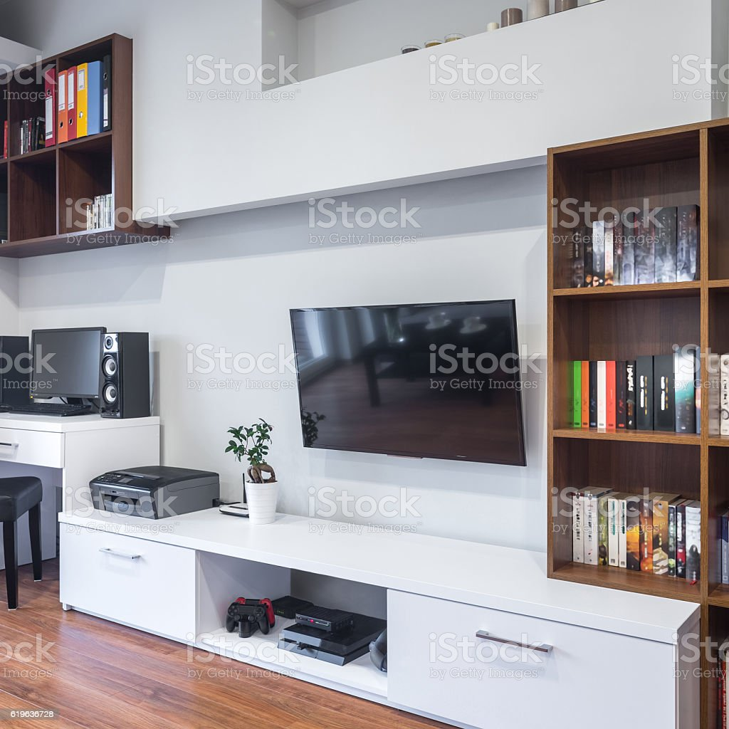 Multifunctional room with TV stock photo