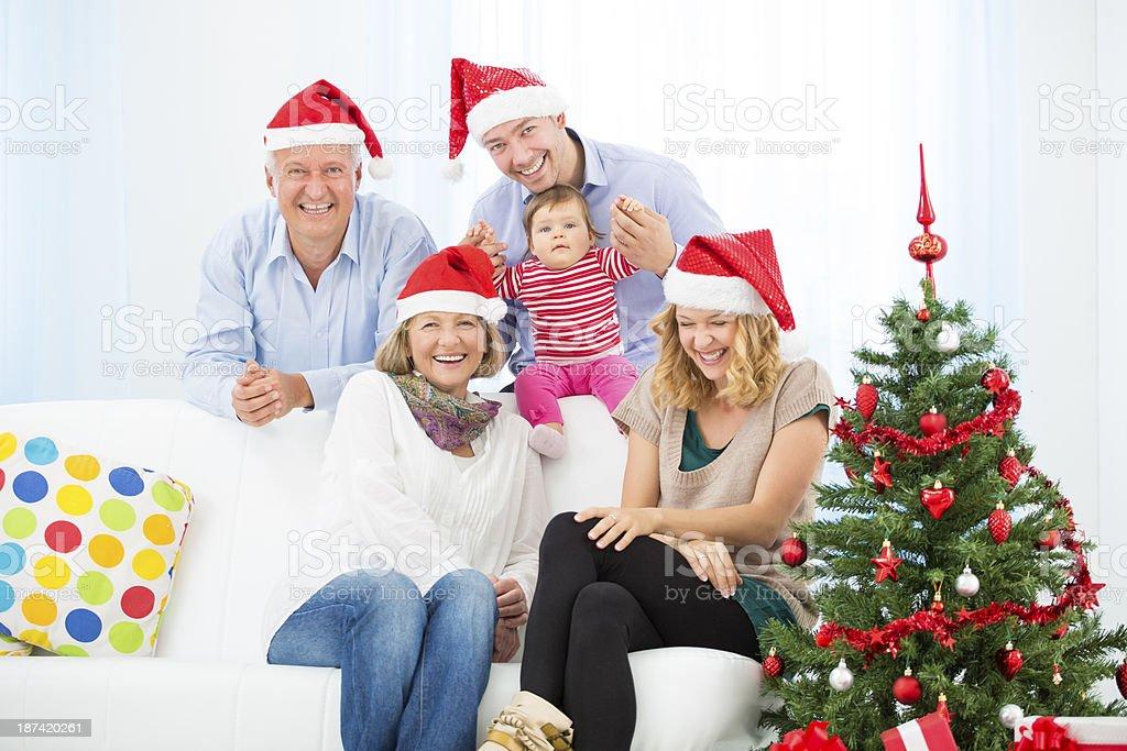 Multi-Generation Family Celebrating Christmas. royalty-free stock photo
