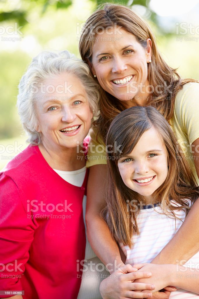 Multi-generation family in park stock photo