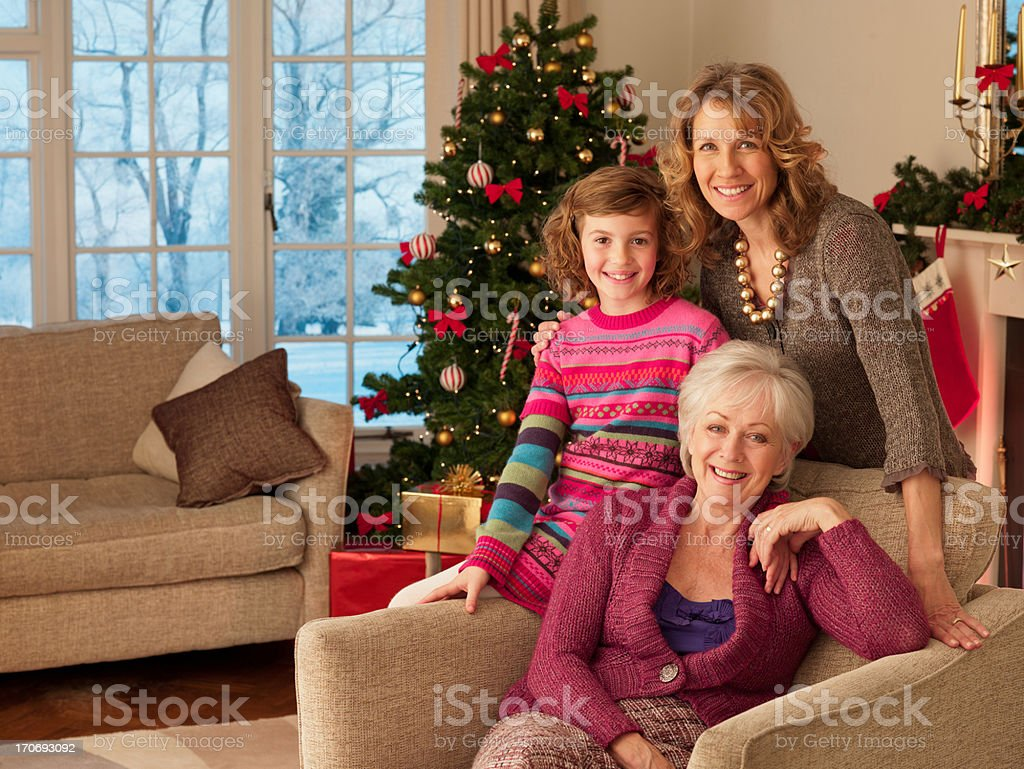 Multi-generation family near Christmas tree royalty-free stock photo