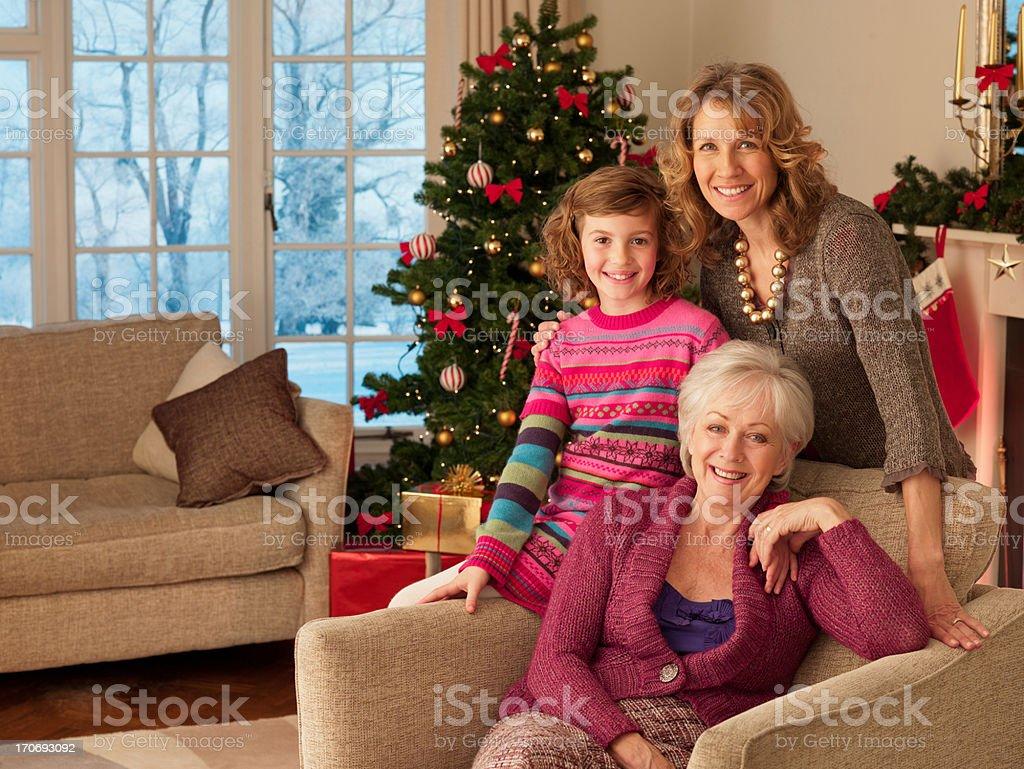 Multi-generation family near Christmas tree stock photo