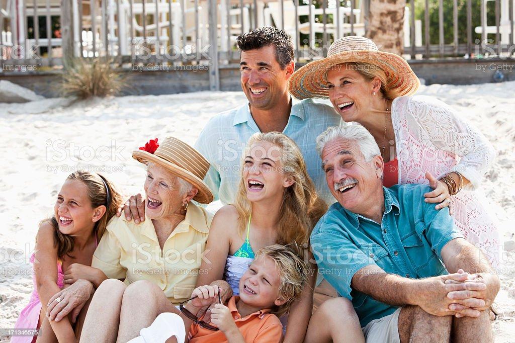 Multi-generation family on beach royalty-free stock photo