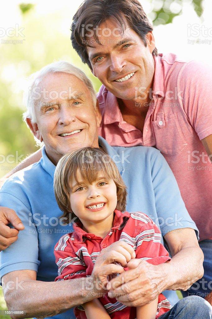 Multi-generation family outdoors royalty-free stock photo