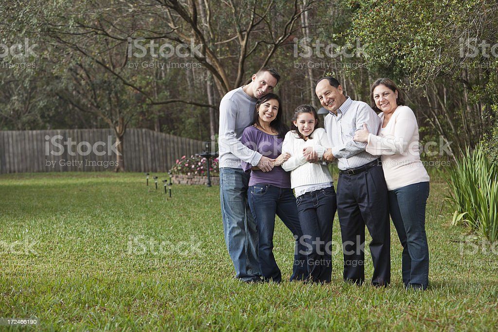 Multi-generation Hispanic family stock photo