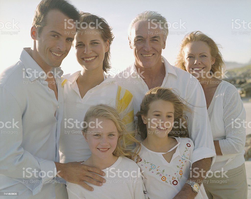 Multigenerational family portrait outdoors royalty-free stock photo
